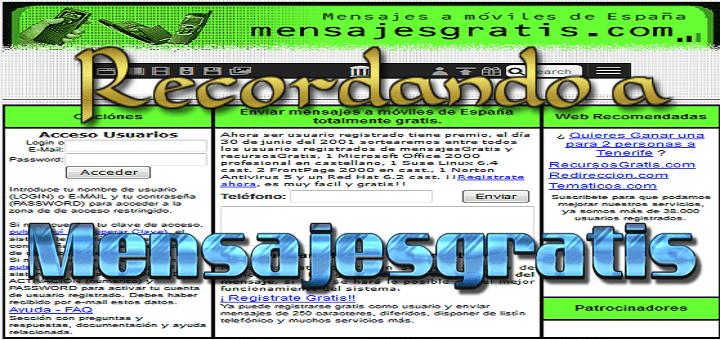 Recordando a: Mensajes gratis – Mensajesgratis.com – Servicio gratis de SMS