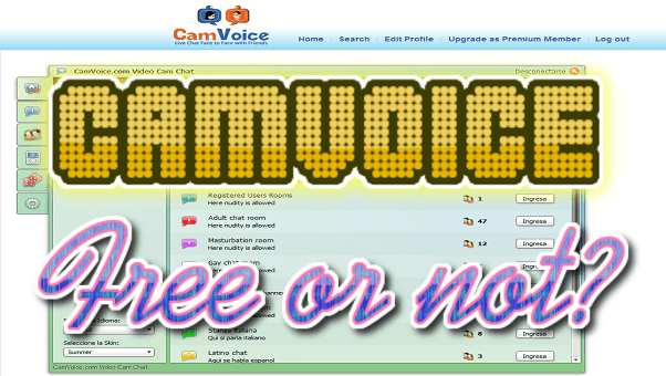 Accesos chapuceros en Camvoice y opciones premium (Chat webcam y audio)