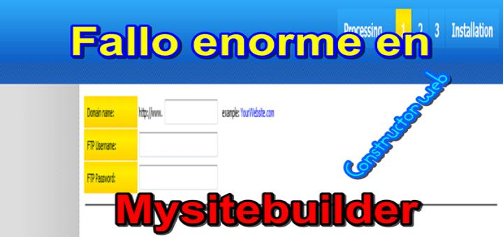 El error de la página mysitebuilder.org (fallos sin acceso al constructor)