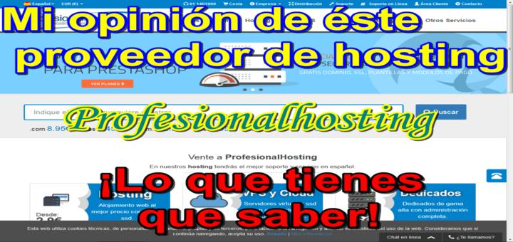 """Opinión sobre el proveedor """"Profesional Hosting"""" (profesionalhosting.com)"""