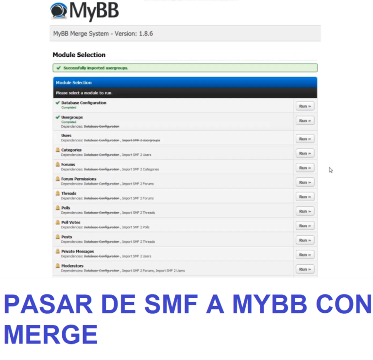 Pasar de un foro SMF a Mybb con el programa Merge